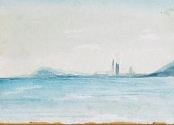 """Barcelona Sky Line I"" Watercolor painting"