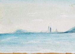 """Barcelona Sky Line I"" Watercolor painting"