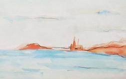 """Barcelona Sky Line II"" Watercolor painting"