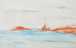 """Barcelona Sky Line II"" Watercolor painting"