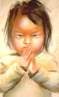 """The Nepal Boy"" chalk drawing"