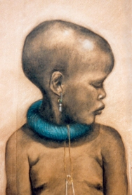 """""""The Zulu Girl"""" charcoal and chalk drawing"""